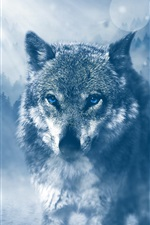 Preview iPhone wallpaper Wolf walk to you, blue eyes, trees, glare