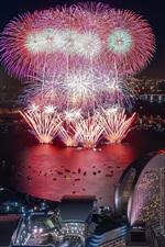 iPhone fondos de pantalla Yokohama, fuegos artificiales, rascacielos, noche, ciudad, Japón