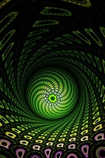 Preview iPhone wallpaper Abstract fractal, green ball