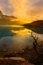 Preview iPhone wallpaper Andes mountains, lake, sunrise, dawn, Patagonia, Chile, South America