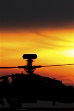 Apache AH-64 helicopter, sunset