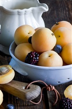 Preview iPhone wallpaper Apricots, blackberry, blueberries, fruits