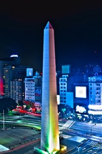 Preview iPhone wallpaper Argentina, Buenos Aires, tower, night, lights, road, street, city