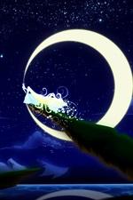 Preview iPhone wallpaper Art painting, moon princess