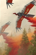 Preview iPhone wallpaper Art picture, helicopter, birds robot, fire