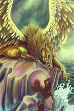 Preview iPhone wallpaper Art picture, monster, wings, sea