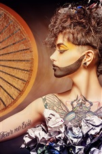 Preview iPhone wallpaper Art style photography, girl, paper, makeup, fan, tattoo