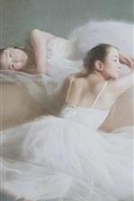 Preview iPhone wallpaper Asian ballerina girls, watercolor painting