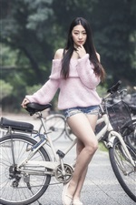 Preview iPhone wallpaper Asian girl, long hair, bike