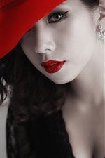 Preview iPhone wallpaper Asian girl, red hat, lips, lace