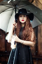 Preview iPhone wallpaper Asian girl, umbrella, rain