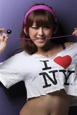 Asian girl, wire, headphones, music