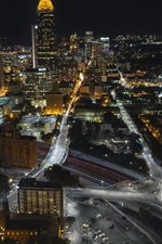 Atlanta, USA, night, roads, buildings, lights