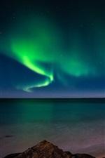 Preview iPhone wallpaper Aurora borealis, snow, arctic, coast, night