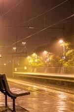 Preview iPhone wallpaper Australia, Melbourne, railroad, lights, platform, raining, night