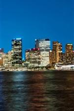 Preview iPhone wallpaper Australia, Sydney, skyscrapers, night, lights, coast