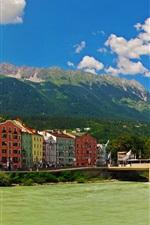 Austria, Innsbruck, bridge, mountains, river, houses, buildings