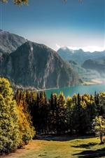 Austria, beautiful nature landscape, lake, mountains, trees, autumn