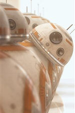 BB8 robots, one curious, Star Wars