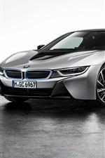 BMW i8 silver car at parking