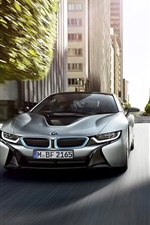 BMW i8 silver car front view