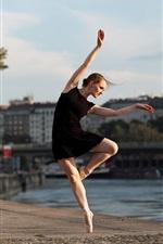 Preview iPhone wallpaper Ballerina, black skirt girl, dance, river, city