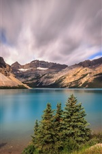 Preview iPhone wallpaper Banff National Park, mountains, clouds, Bow Lake, Alberta, Canada