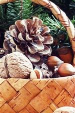 Preview iPhone wallpaper Basket, twigs, nuts, hazelnuts, pistachios, walnut