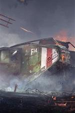 Preview iPhone wallpaper Battlefield 1, landship, war, trees