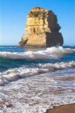 Preview iPhone wallpaper Beach, sea, waves, rocks