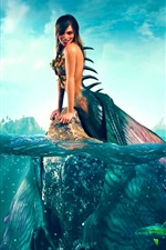 Beautiful mermaid, smile, fish, sea, fantasy art