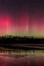 Preview iPhone wallpaper Beautiful northern lights, river, trees, night, winter, stars, sky