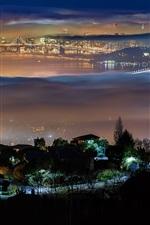 Preview iPhone wallpaper Berkeley, San Francisco, USA, city, night, lights, bridge, fog