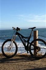 Bike, sea, fence
