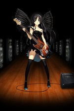 Preview iPhone wallpaper Black angel girl, anime, play guitar, music