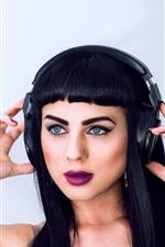 Preview iPhone wallpaper Black hair girl, blue eyes, makeup, headphones