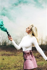 Preview iPhone wallpaper Blonde girl, green smoke