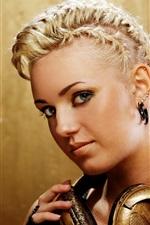 Blonde girl, hairstyle, makeup, headphones