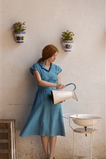 Blue dress girl, life, kettle, washbasin
