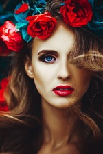 Preview iPhone wallpaper Blue eyes girl, rose flowers, head decoration