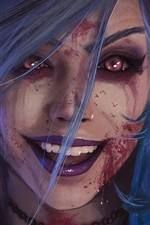 Preview iPhone wallpaper Blue hair fantasy girl, blood