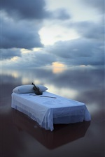 Preview iPhone wallpaper Blue sea, bed, violin, sky, clouds, creative