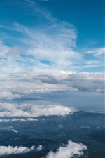 Preview iPhone wallpaper Blue sky, clouds, top view