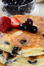 Preview iPhone wallpaper Blueberries pancakes, food