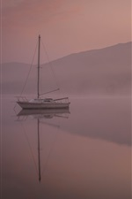 Preview iPhone wallpaper Boats, lake, mountains, dawn, fog