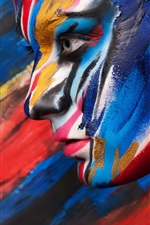 Body art paint, colorful, face side view