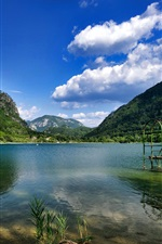 Preview iPhone wallpaper Bosnia Herzegovina, mountains, lake, clouds