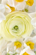 Preview iPhone wallpaper Bouquet, daffodils and ranunculus flowers
