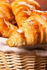Bread, croissant, basket, breakfast