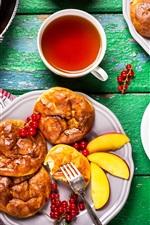Preview iPhone wallpaper Breakfast, bread, berries, tea